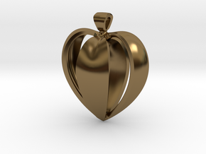 Heart pendant v.1 in Polished Bronze
