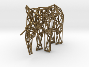 Low Poly Elephant in Polished Bronze