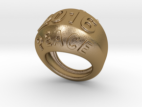 2016 Ring Of Peace 16 - Italian Size 16 in Polished Gold Steel