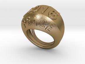 2016 Ring Of Peace 18 - Italian Size 18 in Polished Gold Steel