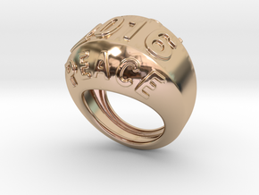 2016 Ring Of Peace 20 - Italian Size 20 in 14k Rose Gold Plated Brass