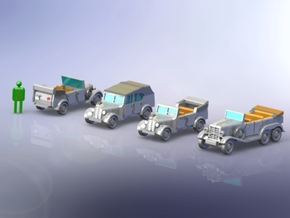 German Mercedes Staff-Cars G4 and 170VK 1/200 in Smooth Fine Detail Plastic