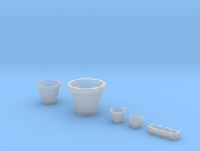 Flowerpots set (5 pcs.) in 1/35 scale in Smoothest Fine Detail Plastic