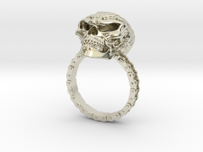 Women's Flaming Skull Ring With Roller Chain in 14k White Gold