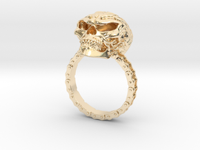 Women's Flaming Skull Ring With Roller Chain in 14k Gold Plated Brass