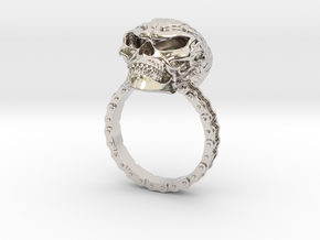 Women's Flaming Skull Ring With Roller Chain in Platinum