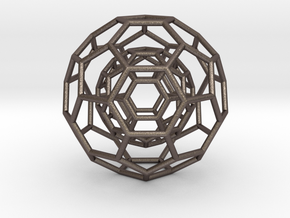 0378 2-Grid Truncated Icosahedron #1#2 (6.3cm) in Stainless Steel