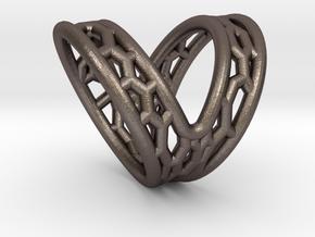 V-shape Finger splint Size10.5 ; Inner diameter 20 in Polished Bronzed Silver Steel