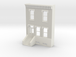 HO SCALE ROW HOME FRONT BRICK 2S in White Natural Versatile Plastic