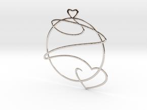 Love Heart in Rhodium Plated Brass