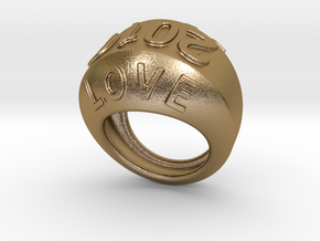 2016 Ring Of Peace 32 - Italian Size 32 in Polished Gold Steel