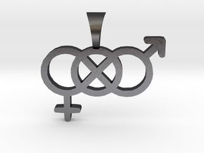 Smaller Genderfluid / Genderqueer Symbol Pendant in Polished and Bronzed Black Steel