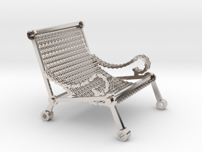 1:12 scale miniature industrial art chair in Platinum