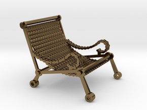 1:12 scale miniature industrial art chair in Polished Bronze