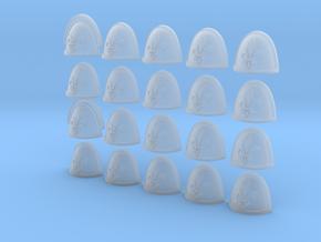 Fleur De Lis - 20, 28mm Shoulder Pads in Smooth Fine Detail Plastic