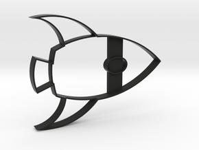 Rocketship Cookie Cutter in Black Natural Versatile Plastic