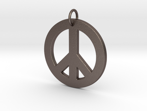 Peace Sign in Polished Bronzed Silver Steel