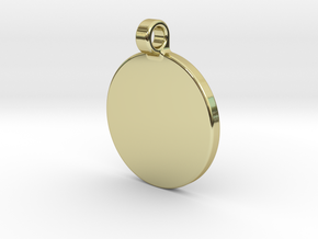 Your embossed pendant, round, 25mm. in 18k Gold Plated Brass