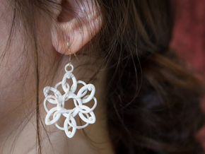 Knotted Hexagonal Earrings in White Processed Versatile Plastic