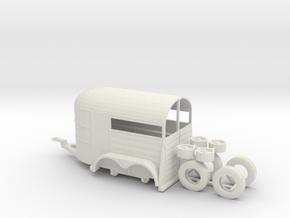 1/50th tandem axle 13' long horse trailer in White Natural Versatile Plastic