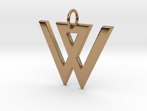 W in Polished Brass