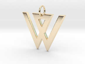 W in 14k Gold Plated Brass