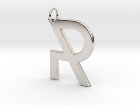 R in Rhodium Plated Brass
