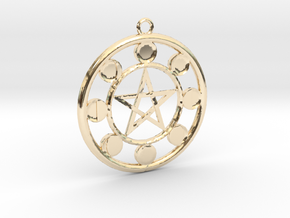 Lunar Phases Pentacle Pendant in 14K Yellow Gold