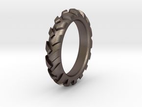 Traktortire Ring - Part 3 in Polished Bronzed Silver Steel