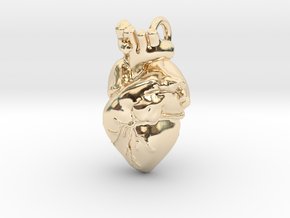 Bigger Anatomical Heart pendant in 14k Gold Plated Brass