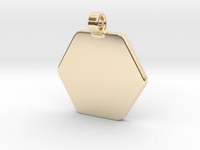 Your embossed pendant, hexagonal, 25mm. in 14K Yellow Gold