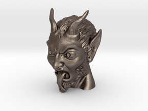 Krampus the Christmas Demon in Polished Bronzed Silver Steel