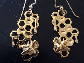Honey Comb Earring Set in 18k Gold Plated Brass