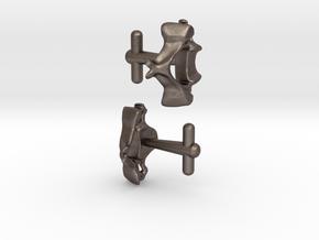 Anatomical Vertebrae C4 Cufflinks in Polished Bronzed Silver Steel