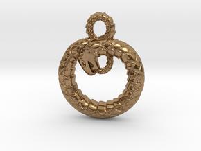 Ouroboros Pendant in Natural Brass