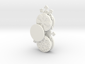 Gears of Winter Ornament (Customizable) in White Strong & Flexible Polished