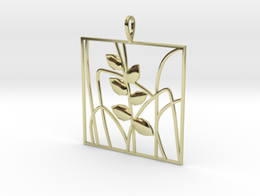 Plant and grass Alhendin pendant in 18k Gold Plated Brass