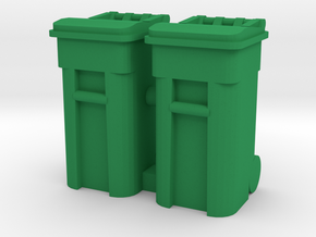 Trash Cart 64 gal - HO 87:1 Scale Qty (2) in Green Processed Versatile Plastic