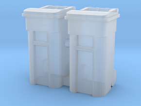 Trash Cart 64 gal - HO 87:1 Scale Qty (2) in Smooth Fine Detail Plastic