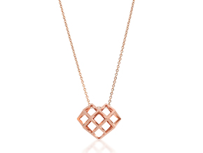 Lattice Heart Pendant in 14k Rose Gold Plated