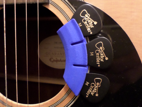 Soundhole Pick Holder Flat Rad in Blue Processed Versatile Plastic