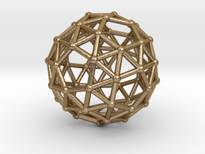 0385 Snub Dodecahedron V&E (a=1cm) #002 in Polished Gold Steel