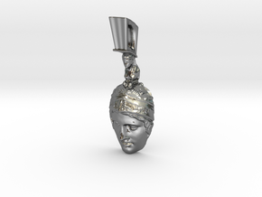 Ares, god of war, pendant in Polished Silver