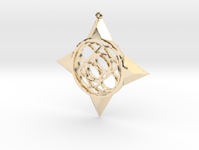 Simple Compass Pendant in 14K Yellow Gold