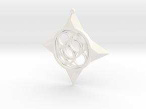 Simple Compass Pendant in White Processed Versatile Plastic