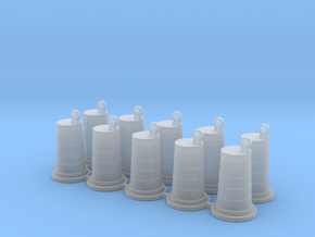 Traffic Barrel With Light (10) 1-87 HO Scale in Smooth Fine Detail Plastic