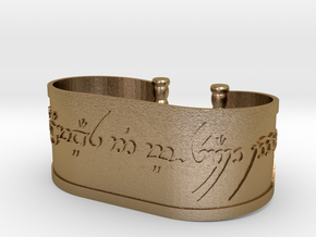 Inscribed Elven Bracelet in Polished Gold Steel