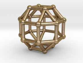 0389 Small Rhombicuboctahedron V&E (a=1cm) #002 in Polished Gold Steel