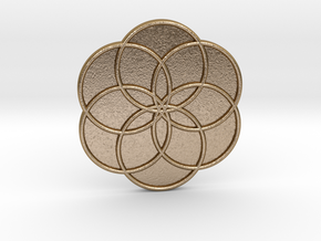 Flower of Life in Polished Gold Steel
