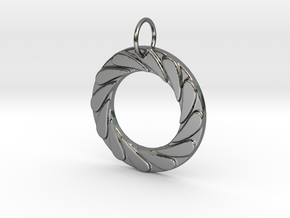 Water Well Pendant in Fine Detail Polished Silver